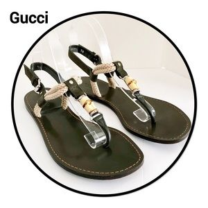 Gucci Bamboo &  Rope Thong Sandals